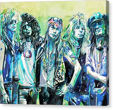 Guns N' Roses - Watercolor Portrait Canvas Print by Fabrizio Cassetta