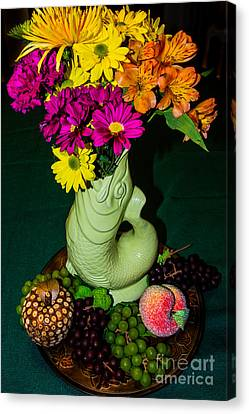 Gurgle Vase With Flowers Canvas Print by Kathy Liebrum Bailey