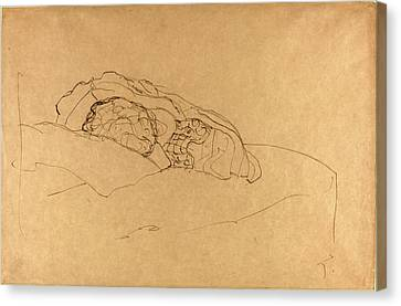 Gustav Klimt, Curled Up Girl On Bed, Austrian Canvas Print by Quint Lox