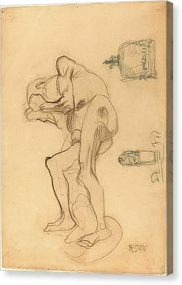 Gustav Klimt, Study Of A Nude Old Woman Clenching Her Fists Canvas Print by Litz Collection