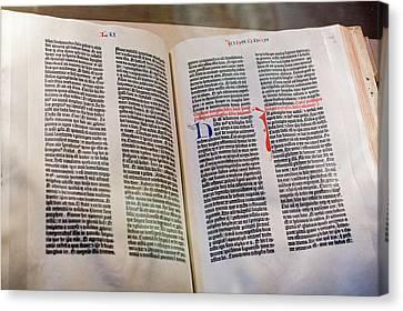 Gutenberg Bible Canvas Print by Jim West