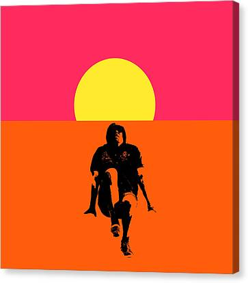 Guy Floating On Background Of Sunset Canvas Print