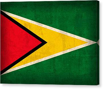 Guyana Flag Vintage Distressed Finish Canvas Print by Design Turnpike