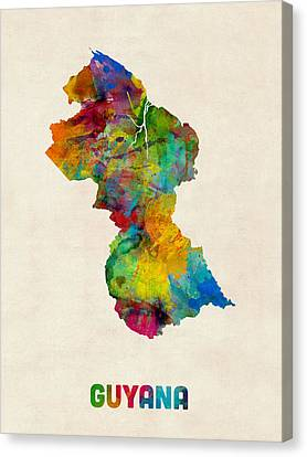 Guyana Watercolor Map Canvas Print by Michael Tompsett