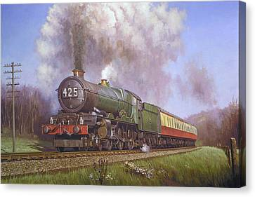 Gwr King Class On Dainton Bank. Canvas Print by Mike  Jeffries