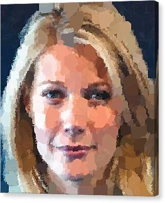 Gwyneth Paltrow Portrait Canvas Print by Samuel Majcen