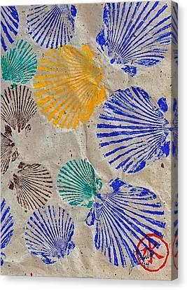 Gyotaku Scallops - Shellfish Apetite Sushi Canvas Print by Jeffrey Canha