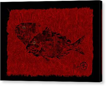 Gyotaku Scup Series 2  Red Unryu Paper Canvas Print