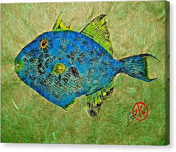 Gyotaku - Triggerfish - Queen Triggerfish Canvas Print by Jeffrey Canha