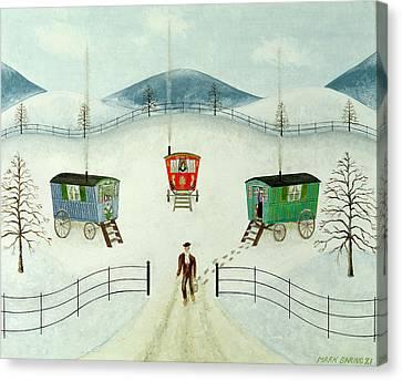 Gypsy Caravans In The Snow Canvas Print