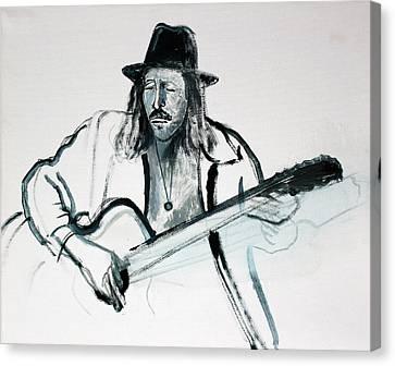 Gypsy Guitarist Canvas Print by Asha Carolyn Young