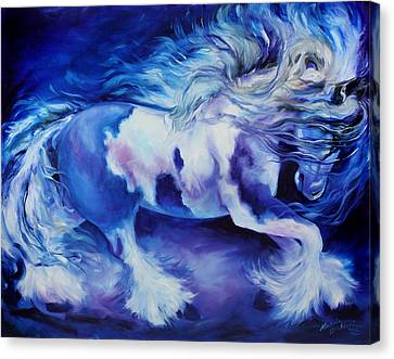 Gypsy Vanner In Blue Canvas Print by Marcia Baldwin