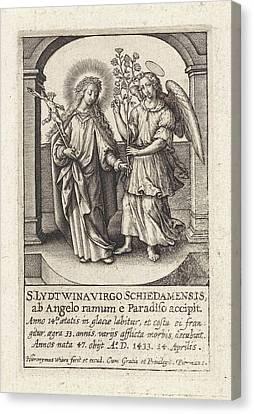 Guardian Angel Canvas Print - H. Lidwina Of Schiedam, The Netherlands, Hieronymus Wierix by Hieronymus Wierix