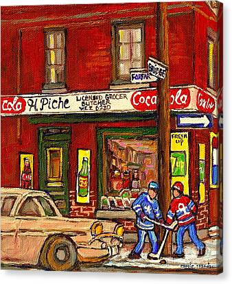 H. Piche Grocery - Goosevillage -paintings Of Montreal History- Neighborhood Boys Play Street Hockey Canvas Print by Carole Spandau
