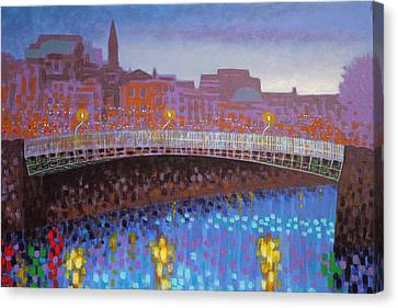 Starry Canvas Print - Ha Penny Bridge Dublin  Cropped by John  Nolan