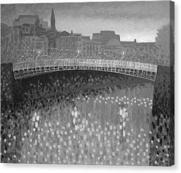 Ha Penny Bridge Dublin  Grey Scale Canvas Print by John  Nolan