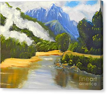 Canvas Print featuring the painting Haast River New Zealand by Pamela  Meredith