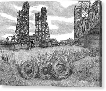 Hackensack River Train Bridge Canvas Print