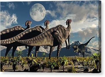 Four Animal Faces Canvas Print - Hadrosaurid Duckbill Dinosaurs Use by Mark Stevenson