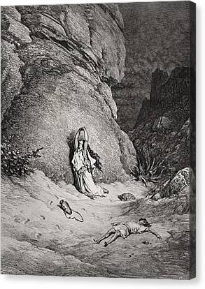 Hagar And Ishmael In The Desert Canvas Print by Gustave Dore
