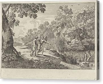 Hagar And The Angel, Herman Van Swanevelt Canvas Print