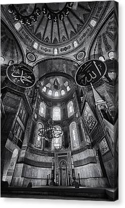 Hagia Sophia Interior - Bw Canvas Print by Stephen Stookey