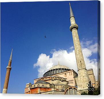 Hagia Sophia With Two Minarets Istanbul Turkey Canvas Print by Ralph A  Ledergerber-Photography