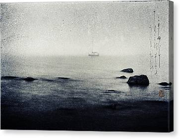 Haiga Rowing Through The Mist Canvas Print by Peter v Quenter