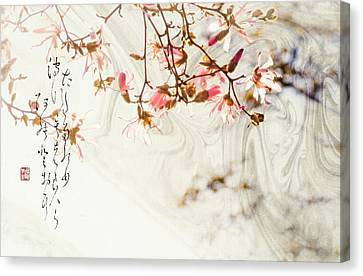 Haiku And Magnolia Blossoms Canvas Print by Peter v Quenter