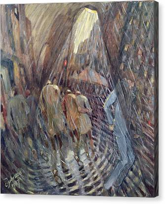 Hail On Sixth Avenue, New York City, 1987 Oil On Canvas Canvas Print by Charlotte Johnson Wahl