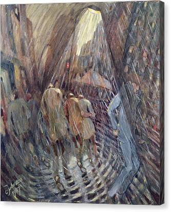 Hail On Sixth Avenue, New York City, 1987 Oil On Canvas Canvas Print