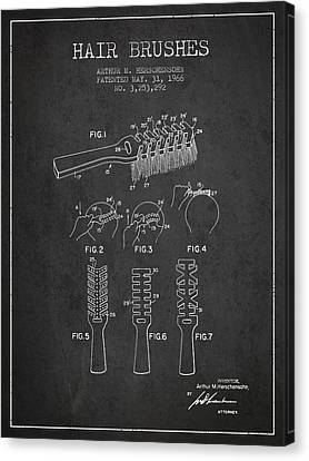 Hair Brush Patent From 1966 - Charcoal Canvas Print