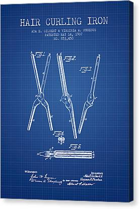 Hair Curling Iron Patent From 1907 - Blueprint Canvas Print