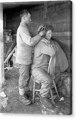 Hair Cut In The Antarctic Canvas Print