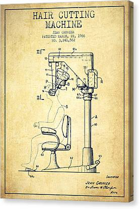 Hair Cutting Machine Patent From 1966 - Vintage Canvas Print