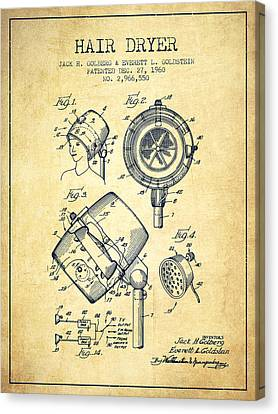 Hair Dryer Patent From 1960 - Vintage Canvas Print