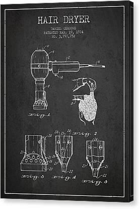 Hair Dryer Patent From 1974 - Charcoal Canvas Print