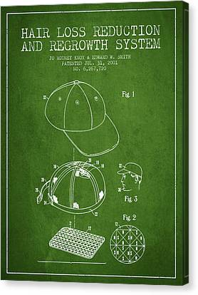 Hair Loss Reduction And Regrowth System Patent - Green Canvas Print by Aged Pixel