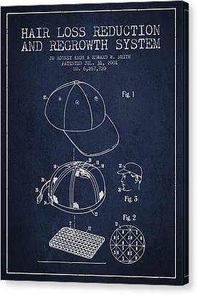 Hair Loss Reduction And Regrowth System Patent - Navy Blue Canvas Print by Aged Pixel