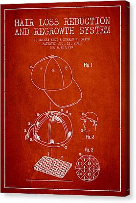 Hair Loss Reduction And Regrowth System Patent - Red Canvas Print by Aged Pixel