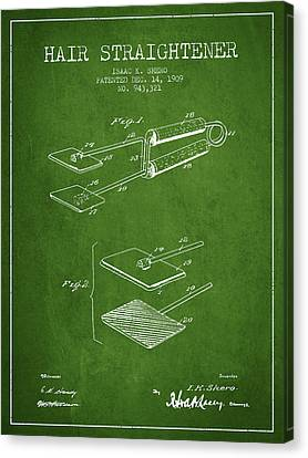 Hair Straightener Patent From 1909 - Green Canvas Print