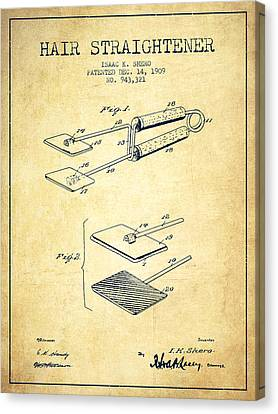 Brush Canvas Print - Hair Straightener Patent From 1909 - Vintage by Aged Pixel