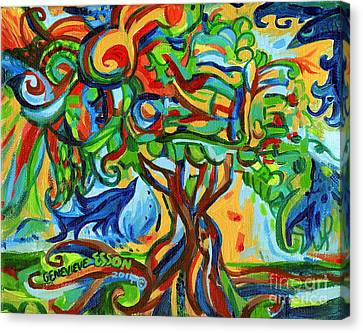 Hairdoodle Tree With Birds Canvas Print by Genevieve Esson