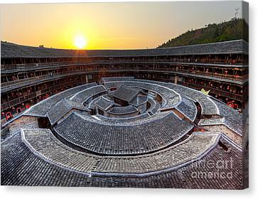 Hakka Tulou Traditional Chinese Housing At Sunset Canvas Print by Fototrav Print
