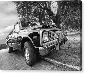 Halcyon Days - 1971 Chevy Pickup Bw Canvas Print by Gill Billington