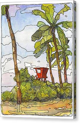 Haleiwa Lifeguard Tower 1 Canvas Print by Stacy Vosberg
