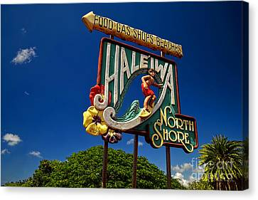 Haleiwa Sign On The North Shore Of Oahu Canvas Print by Aloha Art