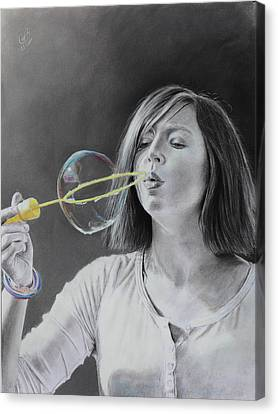 Canvas Print featuring the drawing Bubble Girl by Glenn Beasley