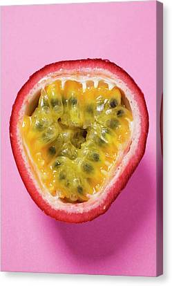 Passionfruit Canvas Print - Half A Purple Granadilla (passion Fruit) by Foodcollection
