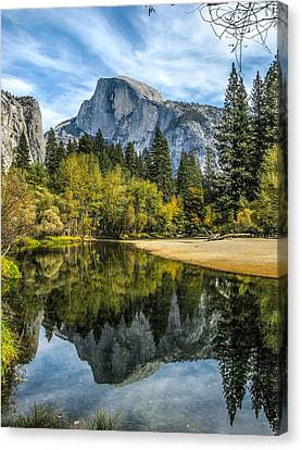 Half Dome Reflected In The Merced River Canvas Print by John Haldane
